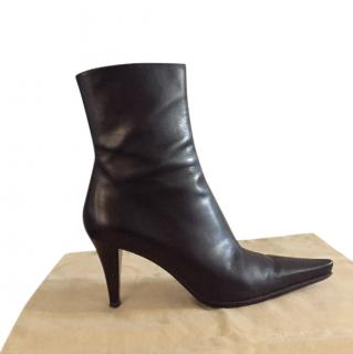 Sergio Rossi Black Glossy Leather Ankle Boots