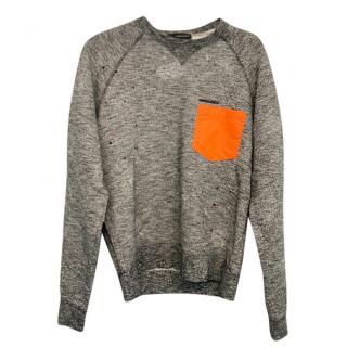 DSquared2 Grey Sweatshirt with contrast orange pocket