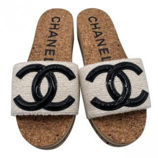 Chanel Tweed CC Cork Platform Slides