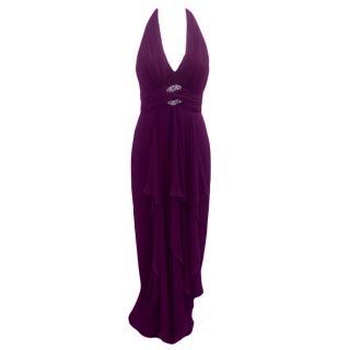 Marchesa Notte Silk Halterneck Embellished Gown