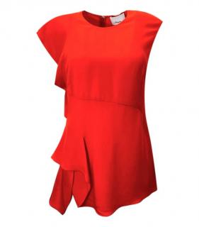 3.1 Phillip Lim Red Silk Sleeveless Ruffle Top