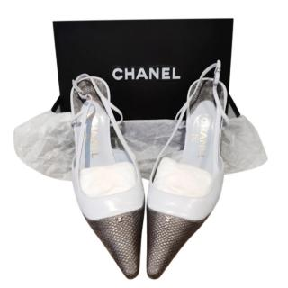 Chanel Blue/Charcoal Leather Slingback Sandals