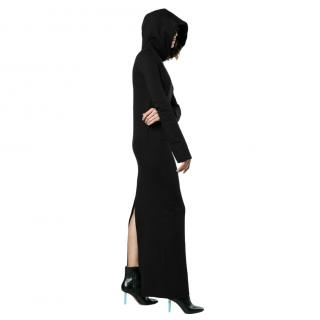 Vetements Black Cotton Hooded Maxi Sweatshirt Dress