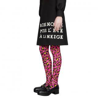 Gucci Pink Leopard Print Runway Tights