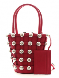 Alexander Wang Red Leather Studded Bucket Bag