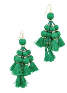 Kate Spade Pretty Poms Tassel Statement Earrings In Green