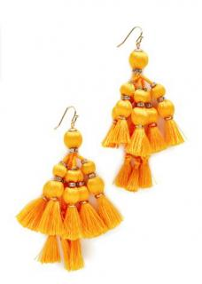 Kate Spade Pretty Poms Tassel Statement Earrings In Yellow
