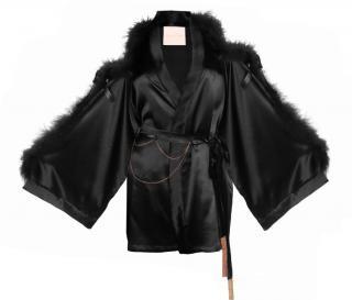 Maguy De Chadirac Black Marabou Feather Trim Short Kimono