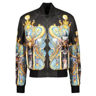 Versace Printed Silk Quilted Bomber Jacket