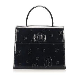 Cartier Black Embossed Happy Birthday Top Handle Bag