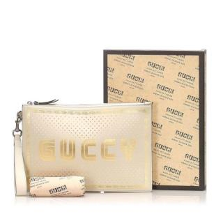 Gucci Guccy White & Gold Leather Pouch