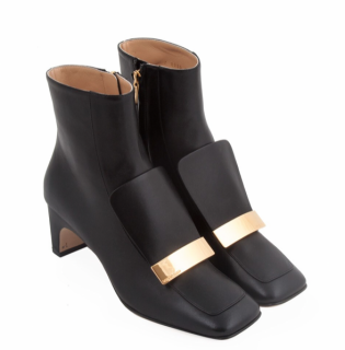 Sergio Rossi SR 1 60 Black Leather Ankle Boots