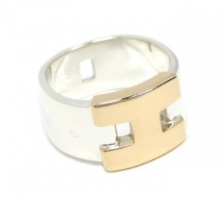 Hermes Sterling Silver & 18ct Yellow Gold Hercules Wide Ring