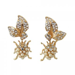 Dolce & Gabbana Crystal & Faux Pearl Insect Drop Earrings
