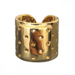 Schield gold tone open plaster ring