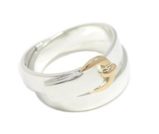 Hermes Sterling Silver & 18ct Yellow Gold Buckle Ring