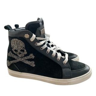 Philipp Plein Skull Studded Leather/Suede High Tops