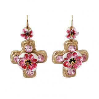 Dolce & Gabbana Floral Cross Drop Earrings
