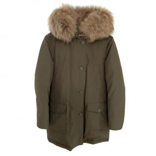 Woolrich Khaki Down Fur Trimmed Parka