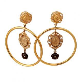 Dolce & Gabbana Madonna Hoop Drop Clip-On Earrings