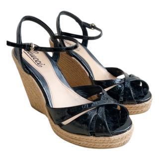 Gucci Patent Guccissima Wedge Sandals