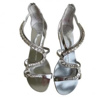 Giuseppe Zanotti crystal embellished silver sandals