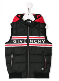 Givenchy kids black/red down puffer logo sleeveless gilet vest