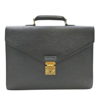 Louis Vuitton Black Epi Leather Servietto Ambassador Bag