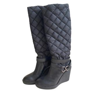 Moncler Black Quilted Nylon Leather Wedge Boots