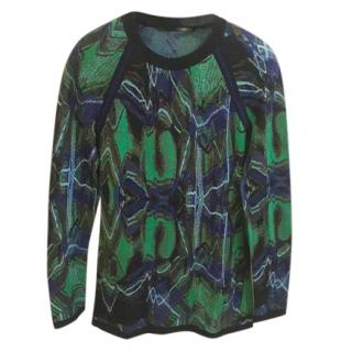 Proenza Schouler  Green & Blue Silk Knit Top