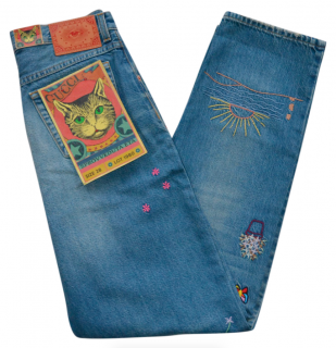 Gucci Embroidered High Waist Runway Jeans