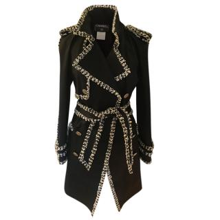 Chanel Black Trench Coat with Embellished Tweed Trim