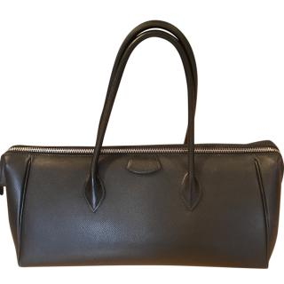 Hermes Black Grained Leather Top Handle Bag