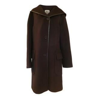 Hermes Brown Cashmere Hooded Coat