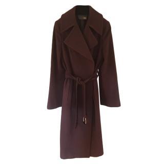 Fendi Brown Wool Belted Coat