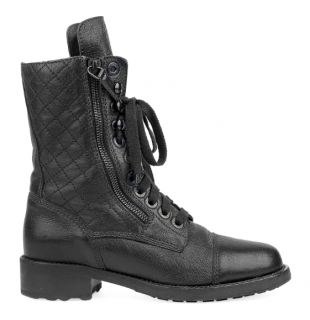 Chanel Leather Lace-Up Detail Zip Biker Boots