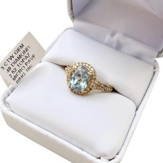Ehthele 18ct Yellow Gold Topaz & Micro Paved Diamond Ring