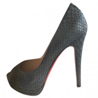Christian Louboutin Black Snake Lady Peep Pumps