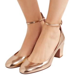 Valentino Gold Leather Tango Pumps