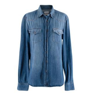 Brunello Cucinelli Leisure Fit Blue Denim Shirt