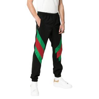Gucci Black Web Intarsia Nylon Track Trousers
