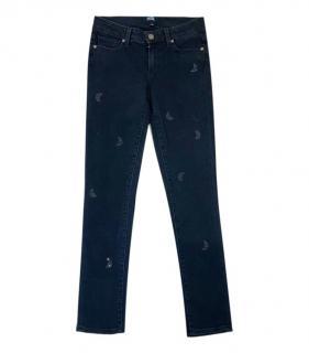 Paige Skyline Ankle Peg Black Crystal Embellished Jeans