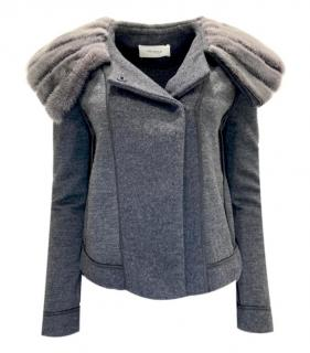 Pringle Grey Wool Jacket with Mink Fur Oversize Collar