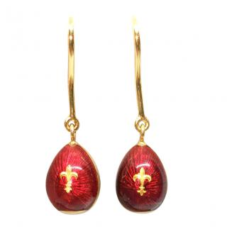 Faberge Red Enamel Egg 18ct Yellow Gold Earrings