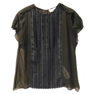 3.1 Phillip Lim Navy Sheer Fil Coupe Cap Sleeve Top