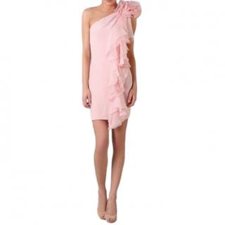 Marchesa Notte Pink Ruffled One Shoulder Dress