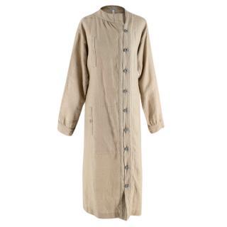 Loewe Sand Linen Long-Sleeve Maxi Dress