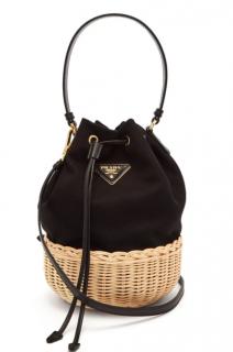 Prada Canvas & woven straw drawstring bucket bag