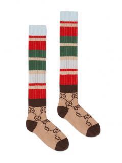 Gucci Striped Supreme Monogram Runway Knee Socks