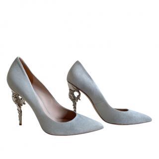 Ralph & Russo Grey Suede Baroque Heel Pumps